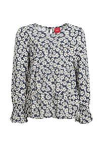 s.Oliver blouse met all over print marine/ecru/geel, Marine/ecru/geel