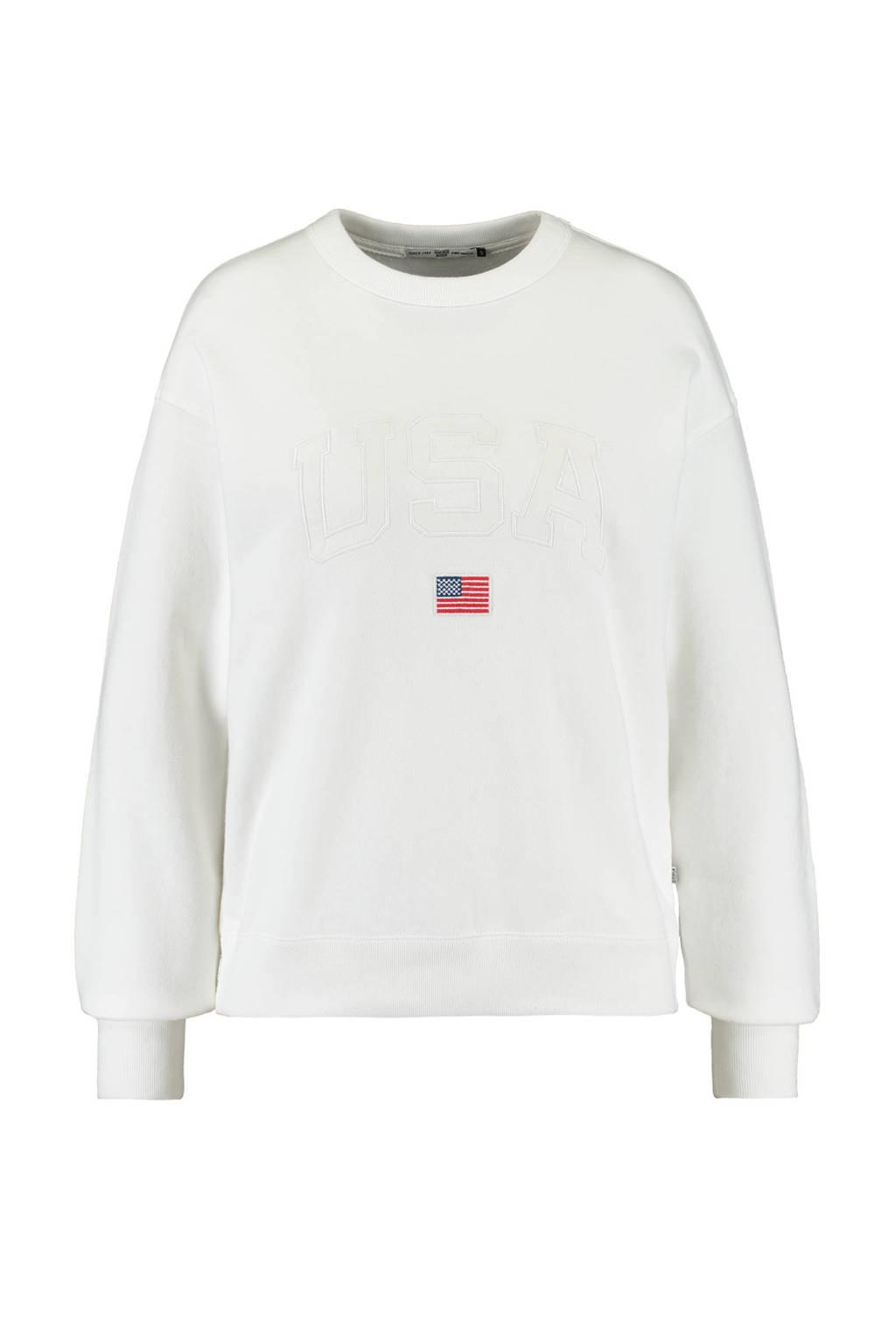 America Today trui met logo cream, Cream