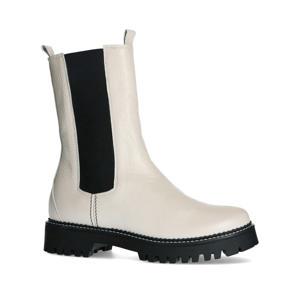 hoge leren chelsea boots off white