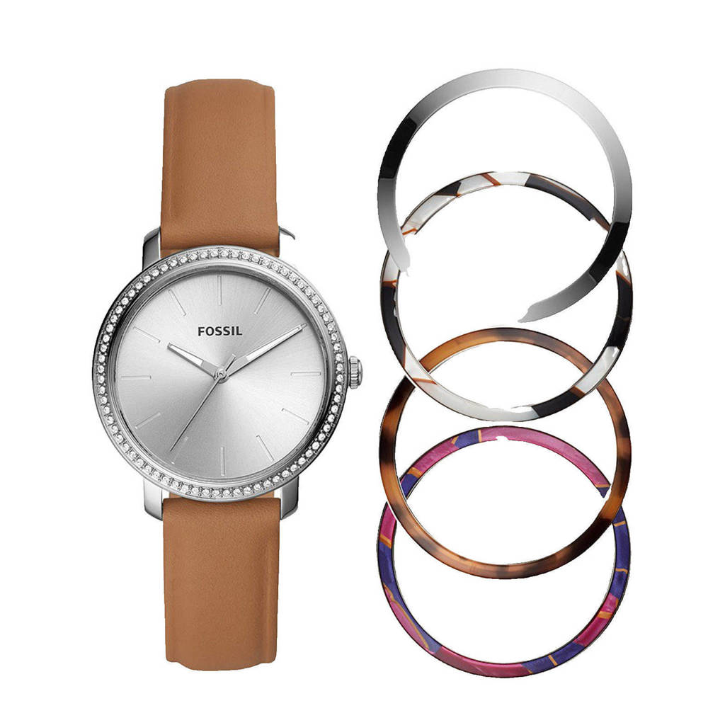 Fossil horloge BQ3570SET Lexie Luther Zilver, Bruin