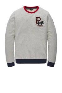PME Legend sweater met logo grijs melange, Grijs melange