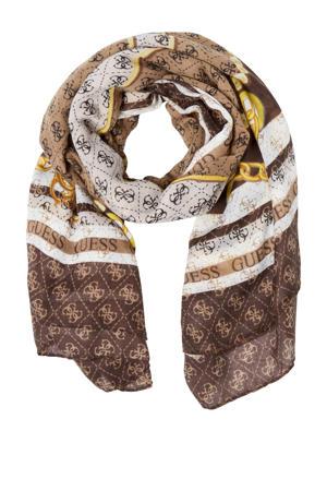 sjaal Washington bruin/wit