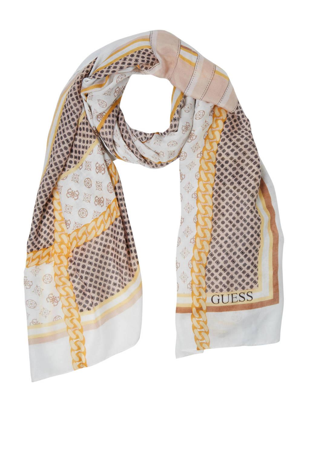 GUESS sjaal Blane wit/beige, Wit/beige