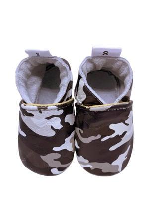 leren babyslofjes met camouflageprint