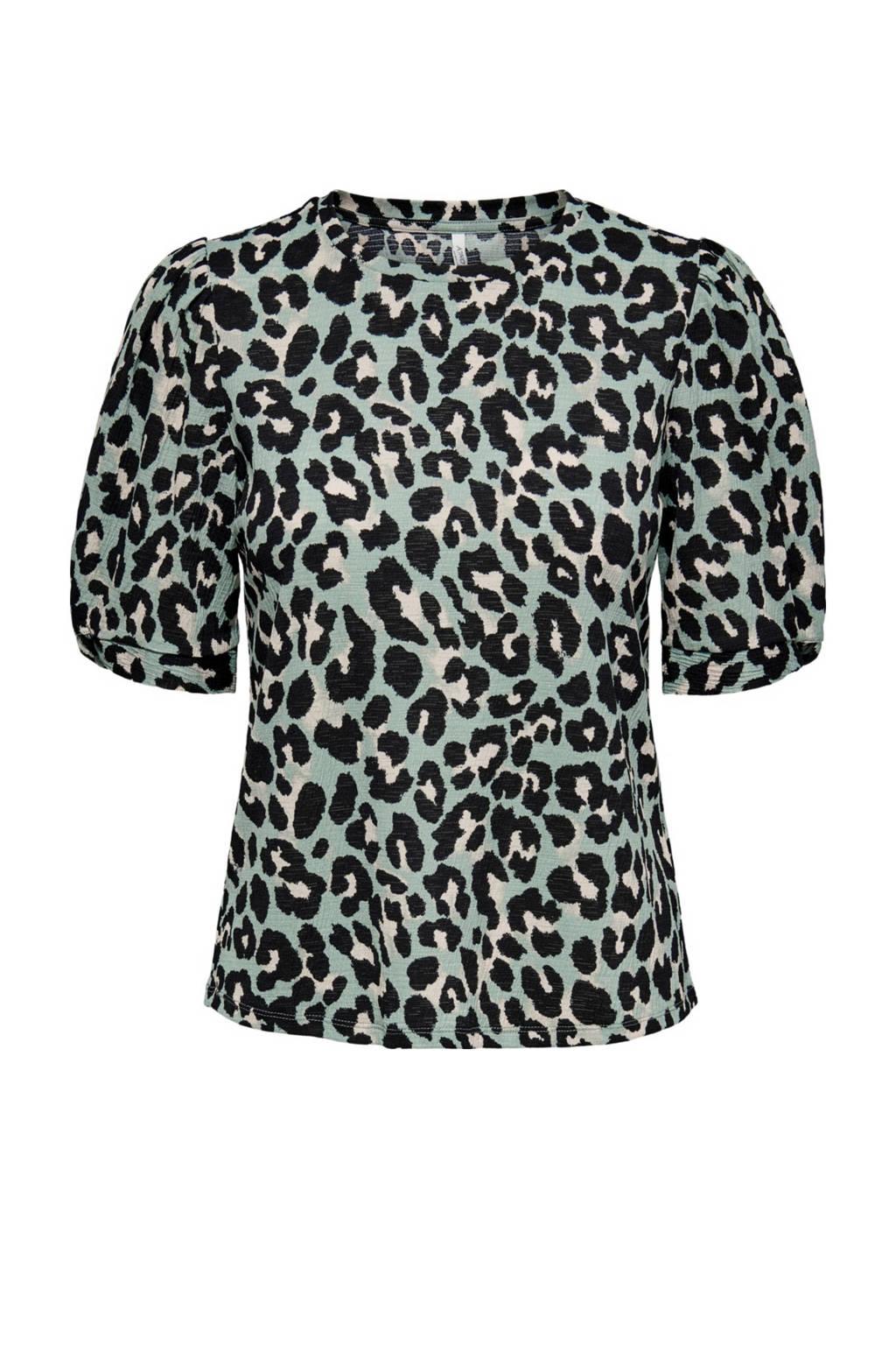 ONLY top ONLFELINE met panterprint turquoise/zwart, Turquoise/zwart