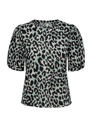 top ONLFELINE met panterprint turquoise/zwart