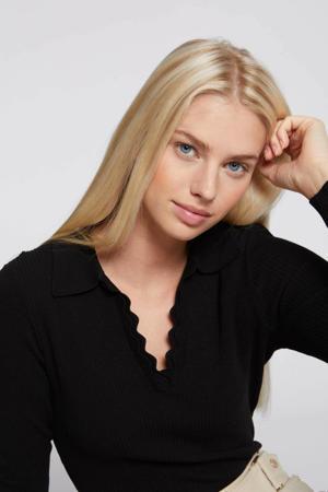 ribgebreide trui met textuur zwart
