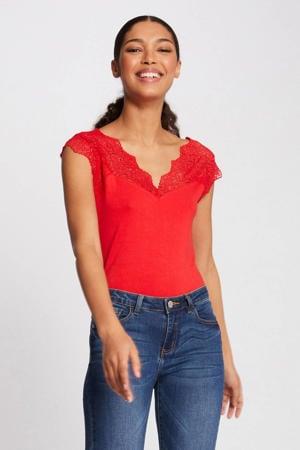 T-shirt met kant oranje