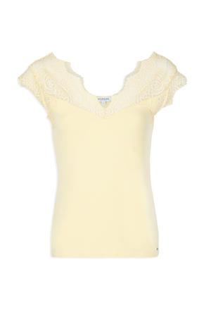T-shirt met kant geel