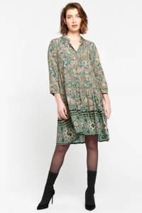 LOLALIZA blousejurk met paisleyprint en volant kaki, Kaki