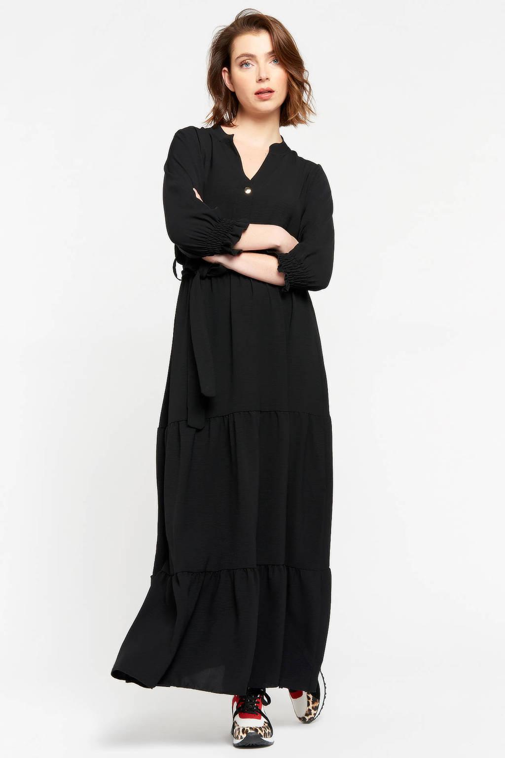 LOLALIZA maxi jurk met volant zwart, Zwart