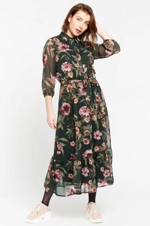 gebloemde semi-transparante maxi blousejurk kaki/roze