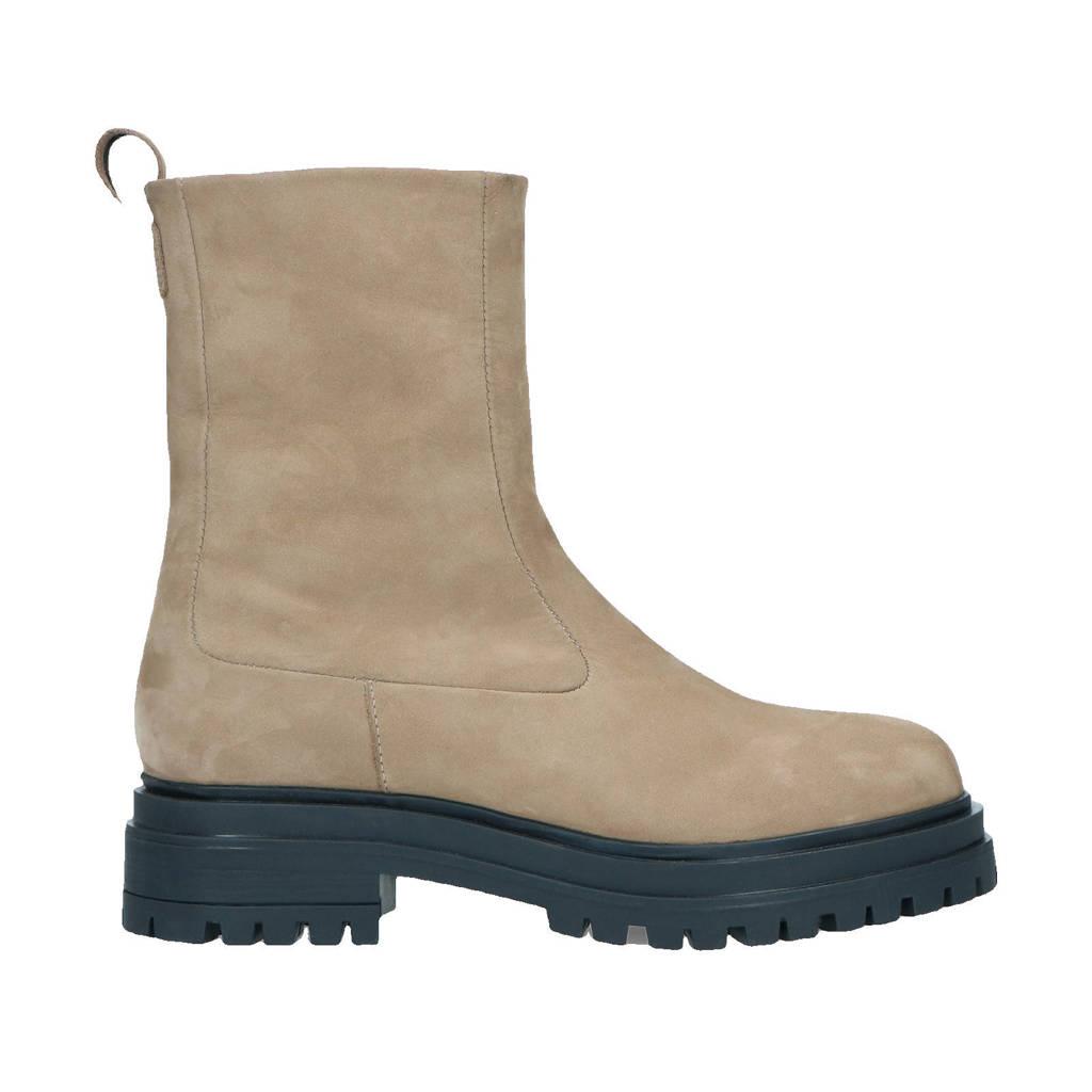 Sacha   hoge nubuck chelsea boots taupe, Taupe