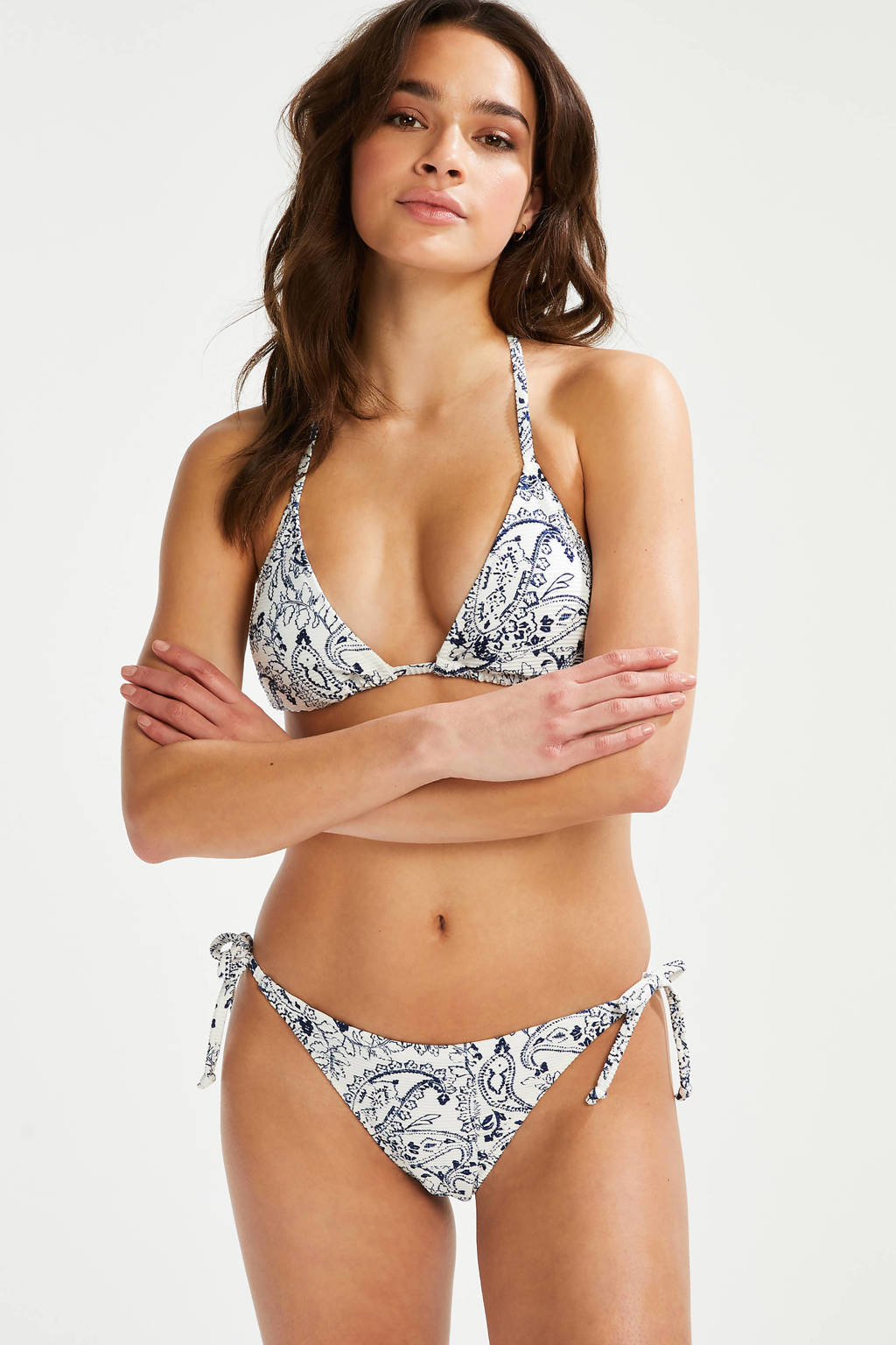 Hunkemöller triangel bikinitop met all over print wit/donkerblauw, Wit/donkerbrlauw