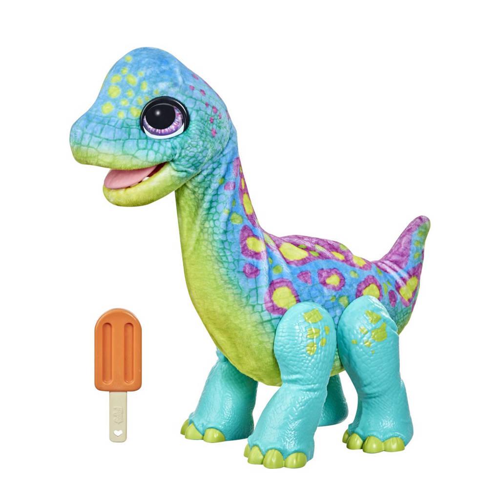 FurReal Friends Snackende Sam de Brontosaurus interactieve knuffel, Lichtblauw