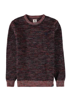 gemêleerde trui donkerblauw/zalm