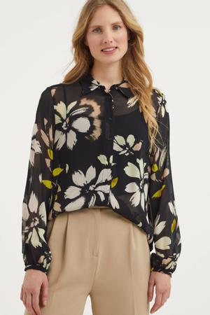blouse met panterprint zwart/blauw