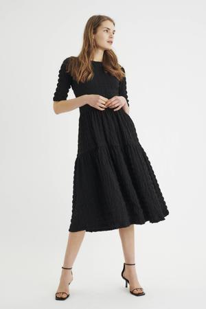 jurk Vanya met textuur zwart