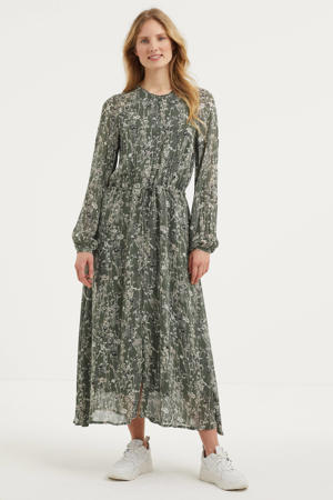 semi-transparante maxi jurk Judy met all over print groen