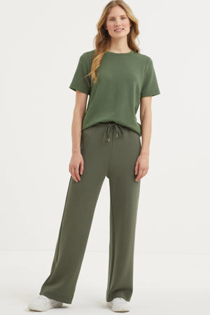 high waist straight fit broek Vincent groen