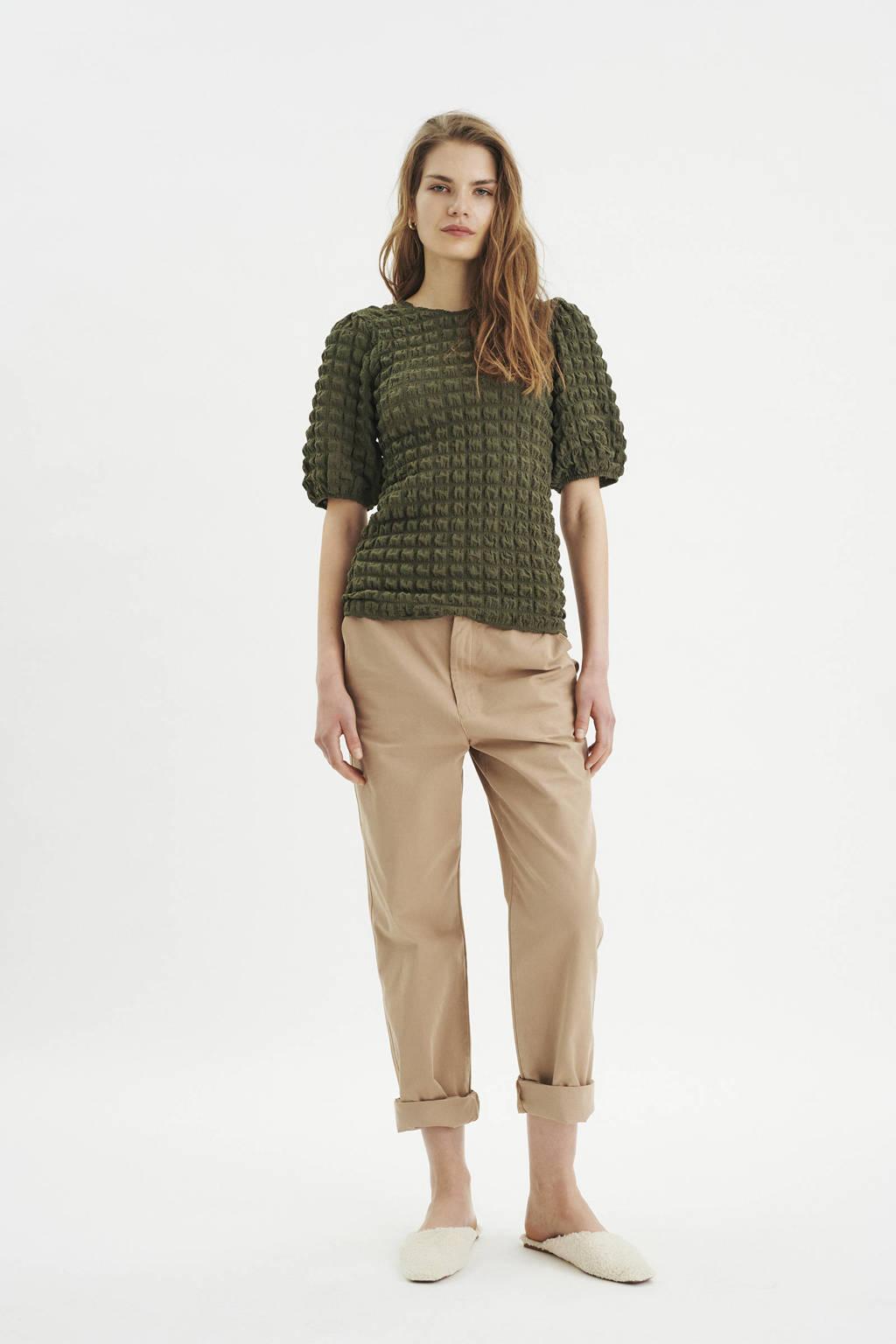 Inwear top Vanya met pofmouwen groen, Groen