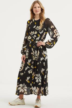 semi-transparante maxi jurk Judy met all over print zwart/blauw