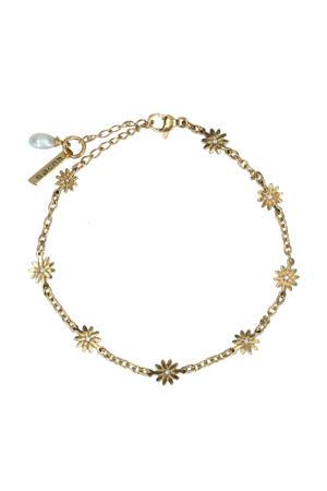 armband met bloemetjes goudkleurig