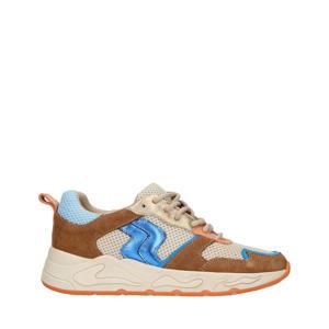 suède sneakers cognac/blauw