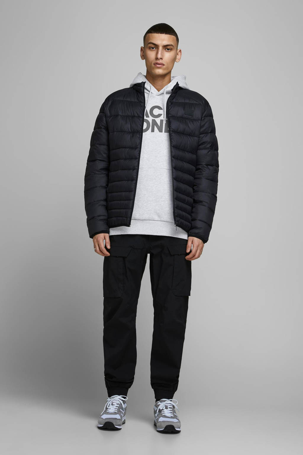 JACK & JONES ESSENTIALS hoodie met logo lichtgrijs melange, Lichtgrijs melange