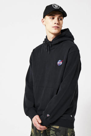 hoodie met 3D applicatie zwart