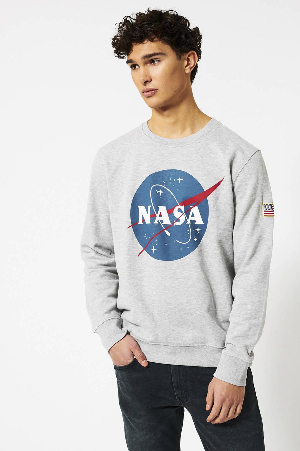 America Today sweater met printopdruk grijs melange, Grijs melange