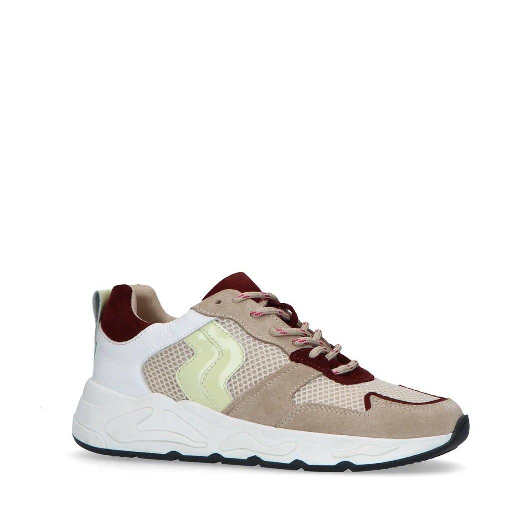 Sacha   suède sneakers beige/geel, Beige/geel/rood
