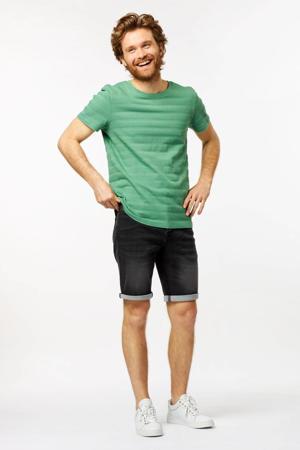 T-shirt Tom met textuur groen