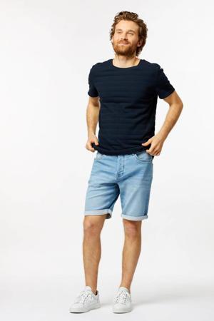 T-shirt Tom met textuur donkerblauw