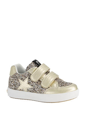 sneakers met glitters goud