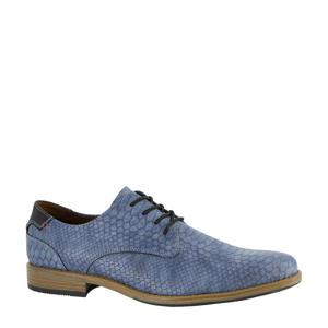 veterschoenen met crocoprint blauw