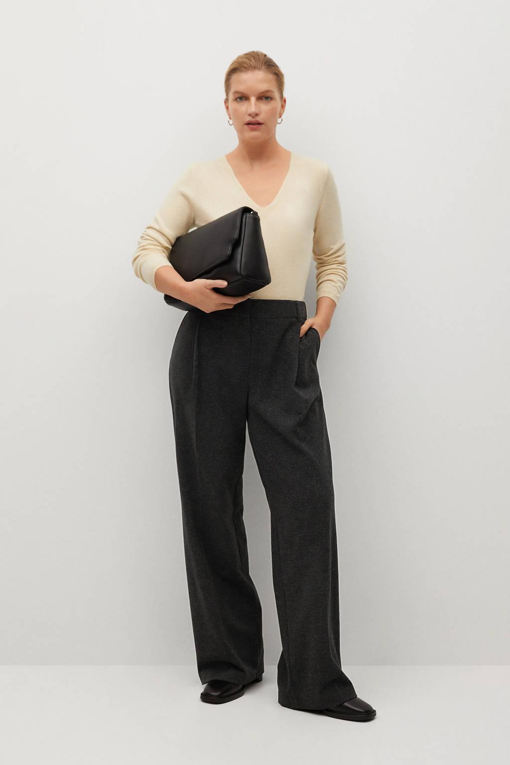 Violeta by Mango high waist straight fit pantalon donkergrijs, Donkergrijs
