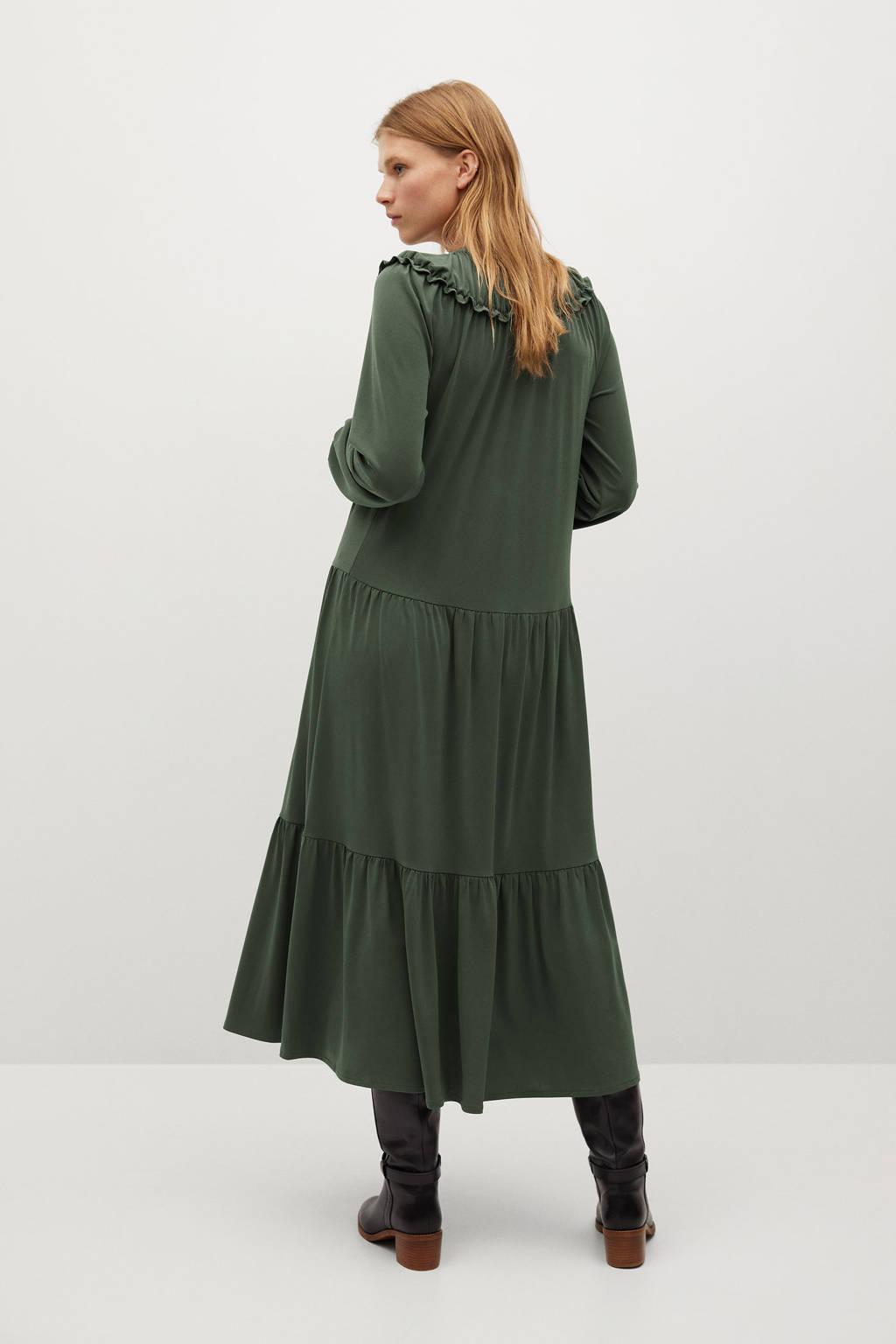 Mango jurk van gerecycled polyester kaki, Kaki