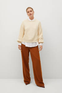 Violeta by Mango high waist straight fit broek roestbruin, Roestbruin