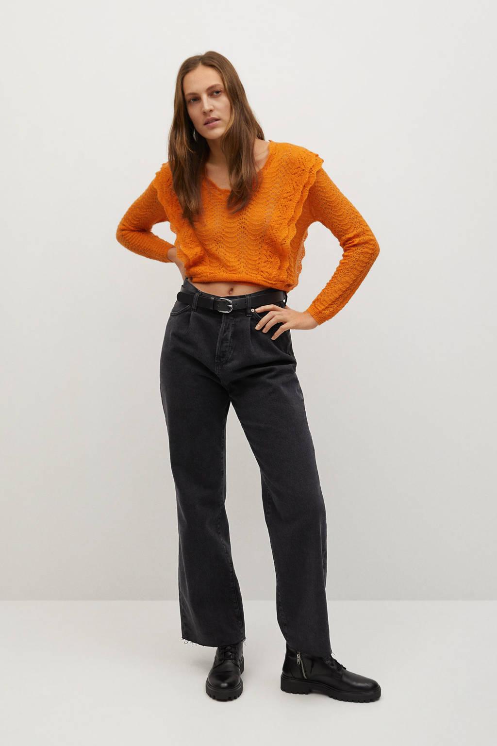 Mango trui met wol oranje, Oranje