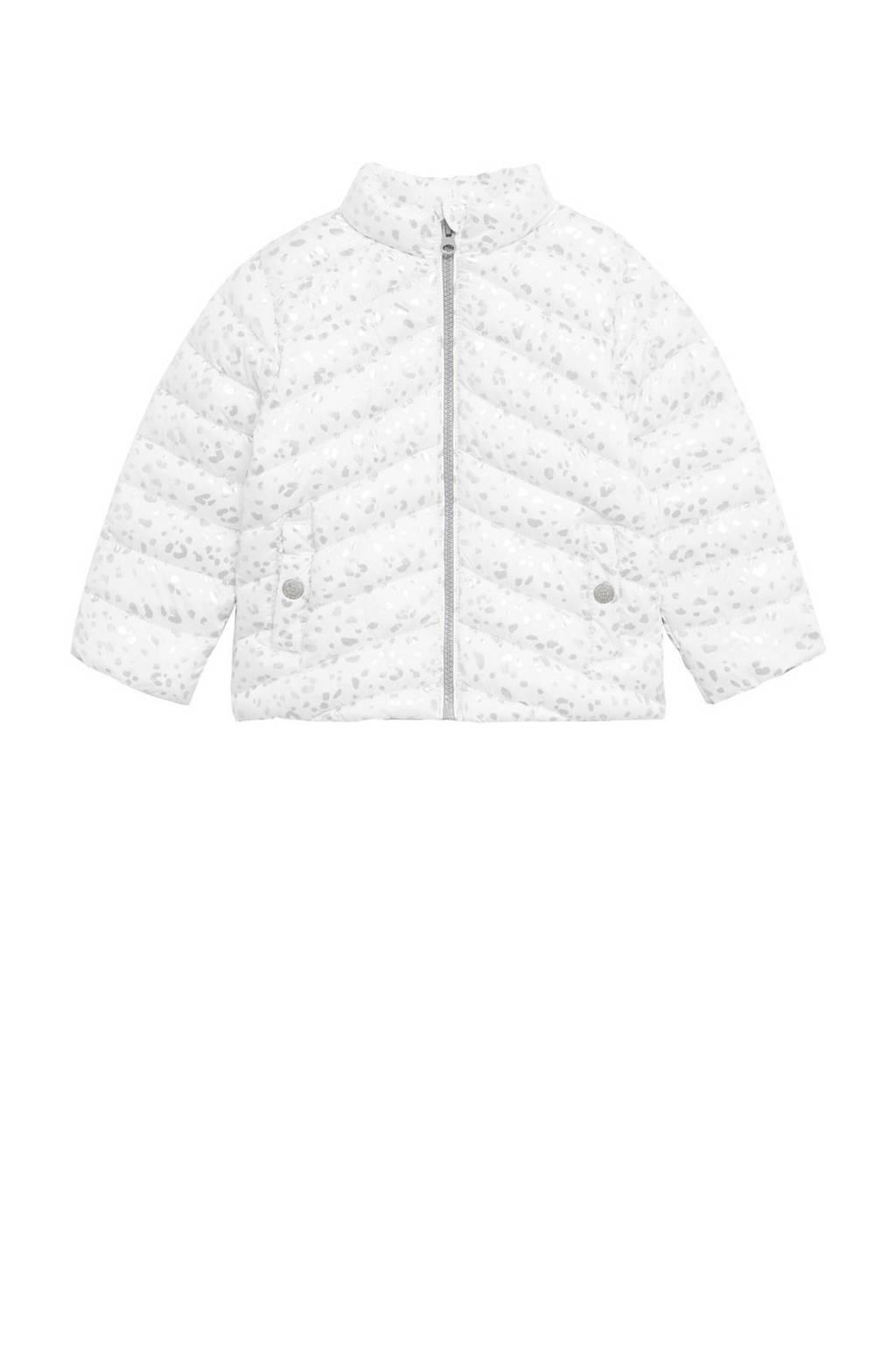 Mango Kids gewatteerde zomerjas met all over print wit/zilver, Wit/zilver