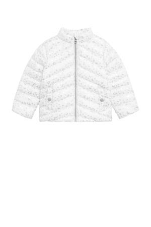 gewatteerde zomerjas met all over print wit/zilver