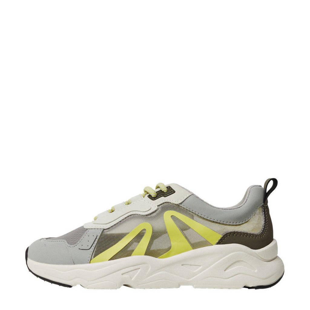 Mango   sneakers met transparante panden groen, Groen/grijs