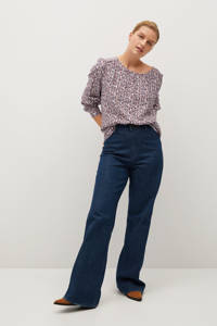Violeta by Mango blouse met all over print naturel wit