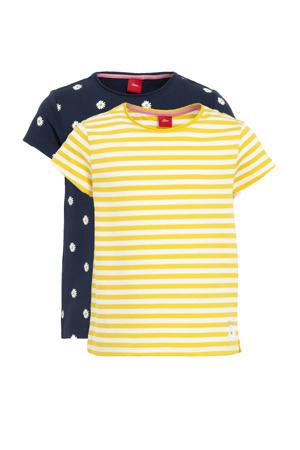 T-shirt - set van 2 streep geel/wit en stip blauw/wit