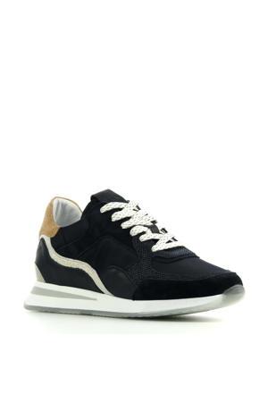 5607017  leren sneakers donkerblauw