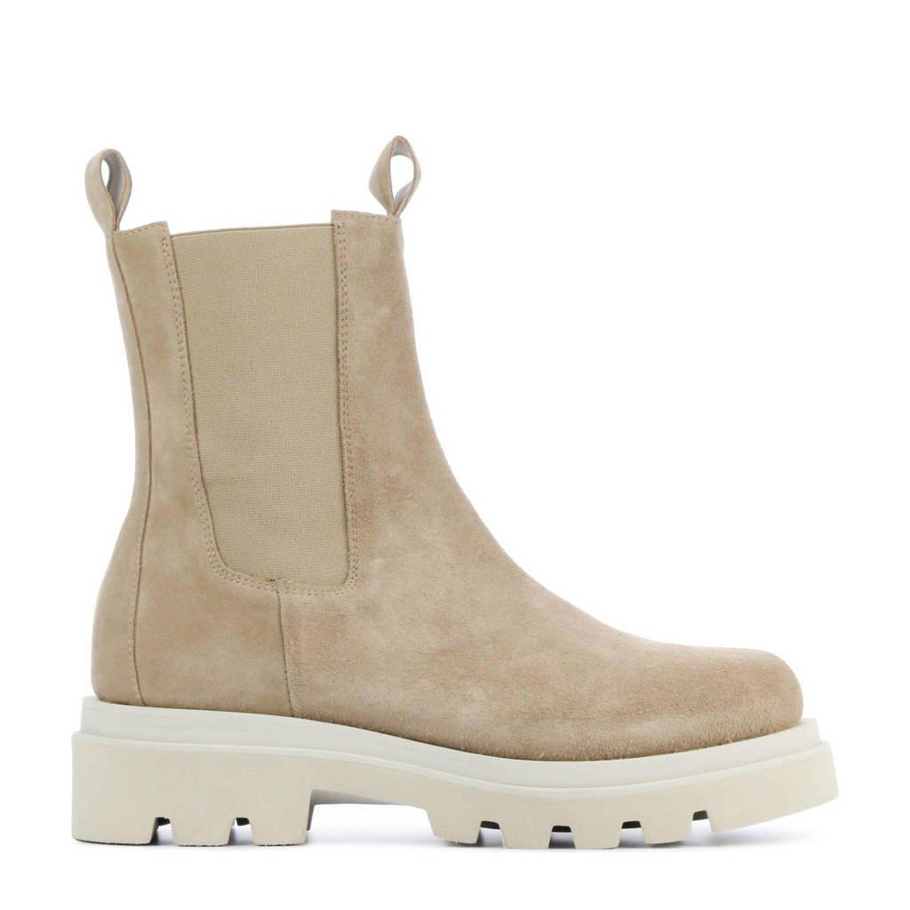 Toral 12704  hoge suède chelsea boots beige, Beige/zand