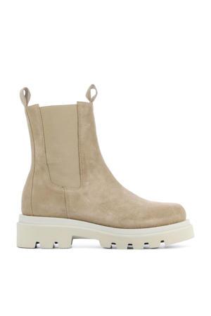 12704  hoge suède chelsea boots beige