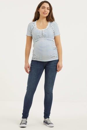 low waist skinny zwangerschapsjeans met biologisch katoen donkerblauw