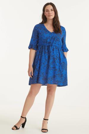 gebloemde A-lijn jurk blauw/donkerblauw